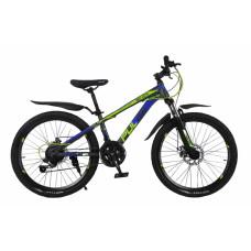 """Велосипед Pulse MD 200 24"""" 21 скорости Disc MTB серо-сине-жёлтый"""