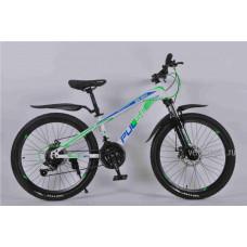 """Велосипед Pulse MD 200 24"""" 21 скорость Disc MTB бело-сине-зелёный"""