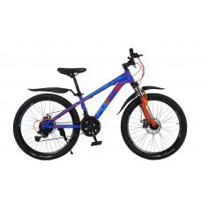 """Велосипед Pulse MD 200 24"""" 21 скорость Disc MTB сине-оранжево-голубой"""