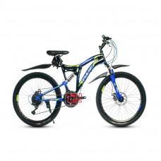 """Велосипед Pulse MD2470 24"""" 21 скорость Disc FS чёрно-синий"""