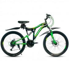 """Велосипед Pulse MD2470 24"""" 21 скорость Disc FS чёрно-зелёный"""
