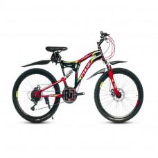 """Велосипед Pulse MD2470 24"""" 21 скорость Disc FS чёрно-красный"""