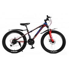 """Велосипед Pulse MD230 полу-FATBIKE 24"""" 21 скорость чёрно-голубо-красный"""