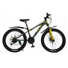 """Велосипед Pulse MD230 полу-FATBIKE 24"""" 21 скорость чёрно-мятно-жёлтый"""