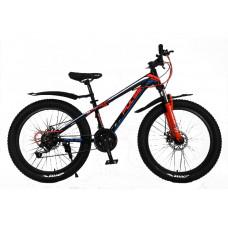 """Велосипед Pulse MD230 полу-FATBIKE 24"""" 21 скорость чёрно-сине-оранжевый"""
