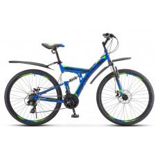"""Велосипед STELS 27,5"""" Focus MD 21-sp синий-неоново-зелёный V010"""
